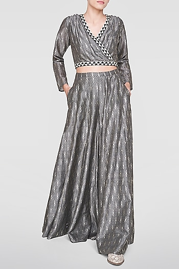 Grey Printed Crop Top With Sharara Pants by Anita Dongre