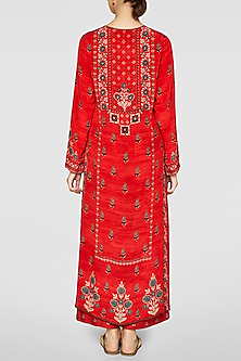 Red Floral Printed Kurta by Anita Dongre