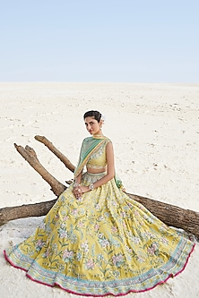 Yellow Floral Embroidered Lehenga Set by Anita Dongre