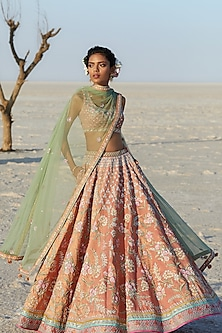 Peach Embroidered Lehenga Set by Anita Dongre