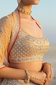Peach Sequins Embroidered Lehenga Set by Anita Dongre
