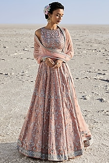 Blush Pink Embroidered Lehenga Set by Anita Dongre