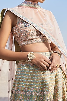 Peach Floral Embroidered Lehenga Set by Anita Dongre