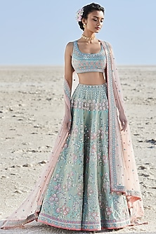 Powder Blue Embroidered Lehenga Set by Anita Dongre