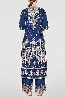 Blue Embroidered Kurta With Pants by Anita Dongre
