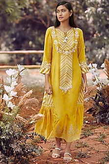 Ochre Yellow Printed Wrap Tunic by Anita Dongre