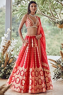 Red Lehenga Set With Gold Thread Work by Anita Dongre