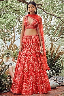 Red Hand Embroidered Lehenga Set by Anita Dongre