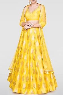 Yellow Embroidered Lehenga Set by Anita Dongre