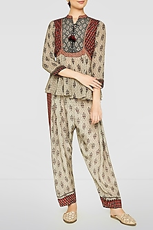 Beige Zari Embroidered Top by Anita Dongre