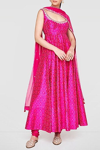 Pink Embroidered Anarkali Set by Anita Dongre