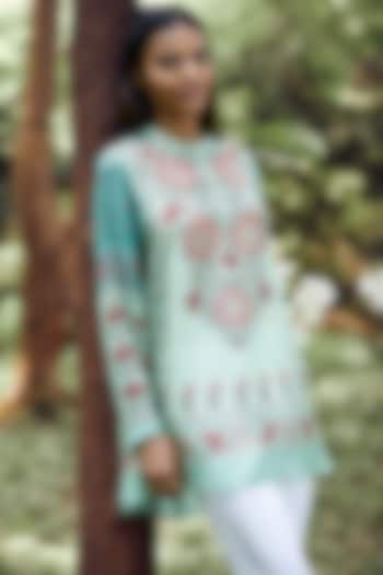 Mint Green Floral Printed Top by Anita Dongre