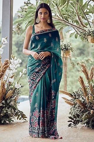 Dual Peacock Blue Phulkari Saree Set by Anita Dongre