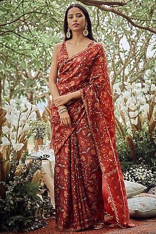 Crimson Floral Printed Saree Set by Anita Dongre