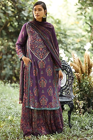 Purple Printed & Embroidered Kurta Set by Anita Dongre