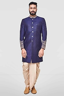 Navy Blue Embroidered Sherwani by Anita Dongre Men