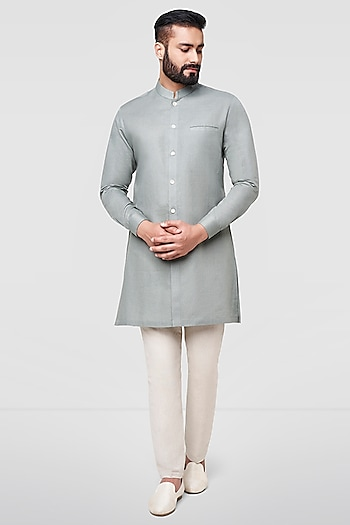 Olive Green Short Kurta by Anita Dongre Men
