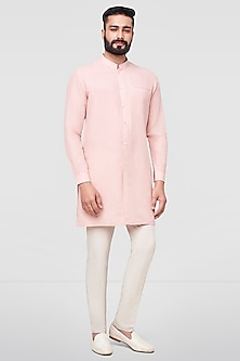 Blush Pink Short Kurta With Buttons by Anita Dongre Men