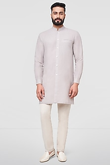 Grey Short Kurta With Buttons by Anita Dongre Men