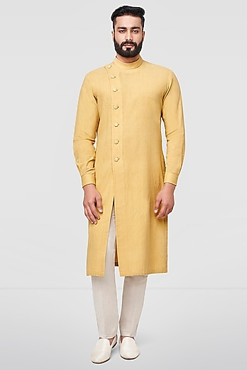 Mustard Overlapping Kurta With Front Slit by Anita Dongre Men