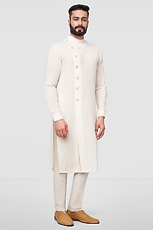 White Overlapping Kurta With Front Slit by Anita Dongre Men