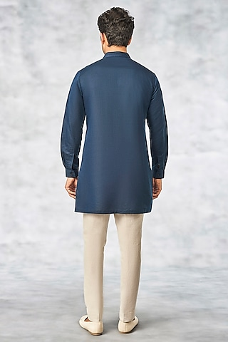 Navy Blue Cotton Linen Kurta by Anita Dongre Men