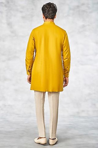 Mustard Cotton Linen Kurta by Anita Dongre Men