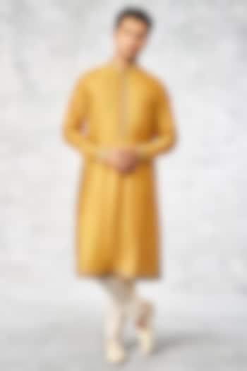Mustard Silk Printed Kurta by Anita Dongre Men