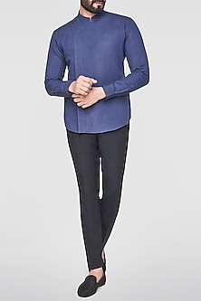 Navy Blue Overlap Shirt by Anita Dongre Men