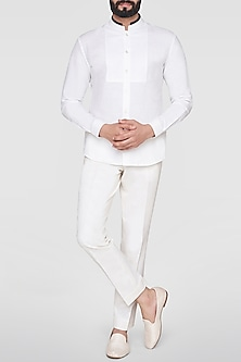 White Mandarin Collared Shirt by Anita Dongre Men