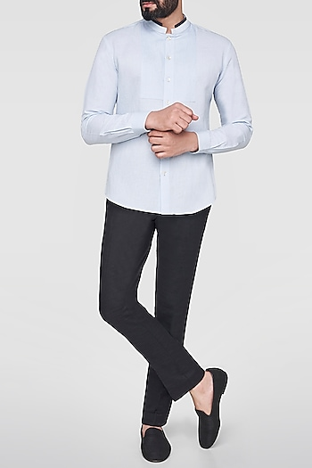 Light Blue Mandarin Collared Shirt by Anita Dongre Men