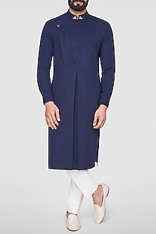 Navy Blue Embroidered Overlap Drape Kurta by Anita Dongre Men