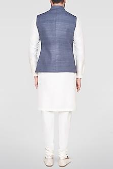 Grey Embroidered Overlap Bundi Jacket by Anita Dongre Men