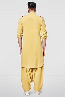 Mustard Pathani Kurta With Buttons by Anita Dongre Men