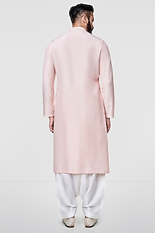 Blush Pink Embroidered A-Line Kurta by Anita Dongre Men