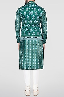 Green Mandarin Collared Bundi Jacket by Anita Dongre Men