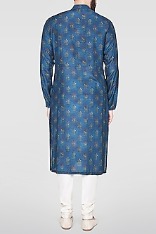 Navy Blue Silk Kurta by Anita Dongre Men
