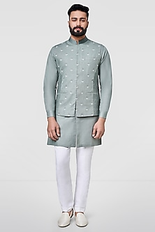 Olive Green Embroidered Jacket by Anita Dongre Men