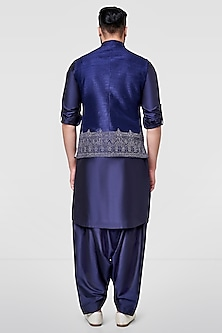 Navy Blue Nehru Jacket With Embroidery by Anita Dongre Men