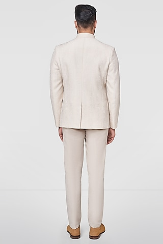 Off White Embroidered Bandhgala Jacket  by Anita Dongre Men