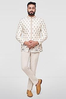 Off White Printed Bandhgala Jacket by Anita Dongre Men