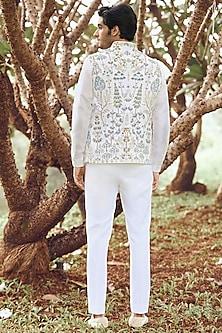 Off White Hand Painted Bundi Jacket by Anita Dongre Men