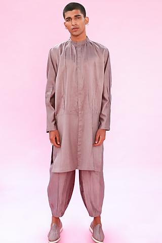 Grey Cotton Silk Smocked Kurta by Antar Agni Men