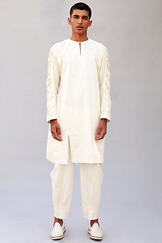White Cotton Silk Short Kurta by Antar Agni Men