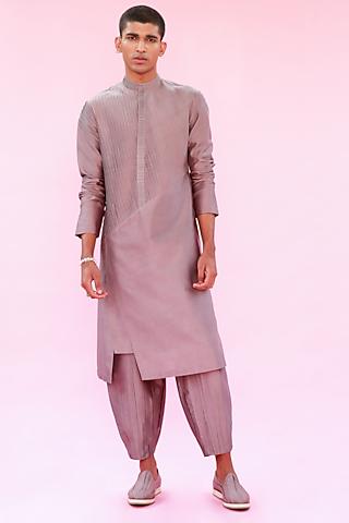 Grey Multi-Layered Kurta by Antar Agni Men