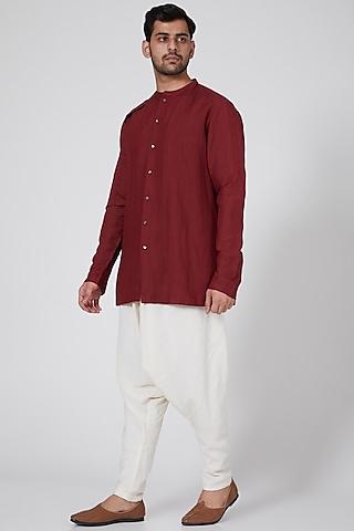 Maroon Shirt With Pleated Drape by Antar Agni Men
