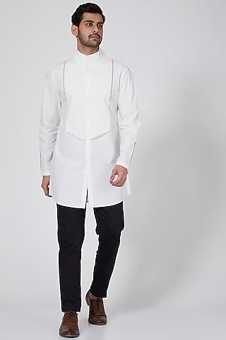 White Layered Kurta With Mandarin Collar by Antar Agni Men