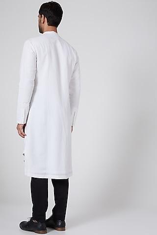 White Asymmetric Kurta by Antar Agni Men