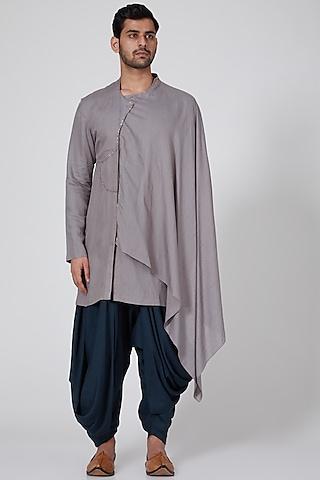 Grey Draped Short Kurta by Antar Agni Men