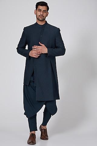 Navy Blue Pleated Asymmetric Jacket by Antar Agni Men